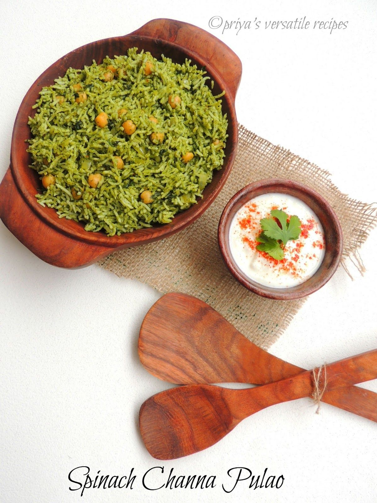 Priya's Versatile Recipes: Palak Channa Pulao/Spinach Chickpeas Pulao