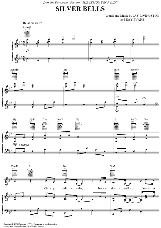 Silver Bells Sheet Music by Bing Crosby | Sheet music, Pianos and ...