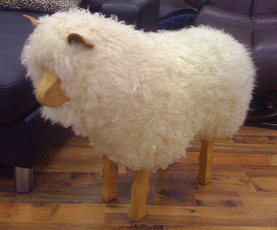 Cute Real Wool Sheep Footstool U Wish Etsy Shop Sheep