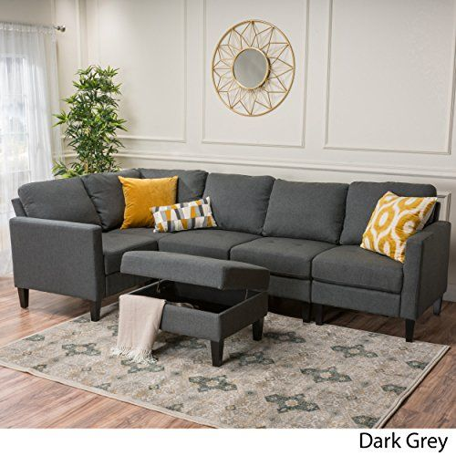 Carolina Dark Grey Fabric Sectional Couch With Storage Interiordesign Modernsofa Graysofa Fabric Sectional Couch Fabric Sectional Sofas Couch With Ottoman