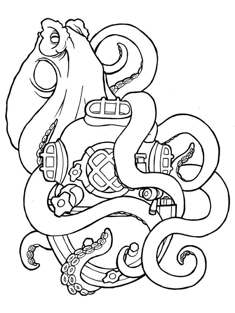 Squid Sisters Coloring Pages Squid Is A Type Of Aquatic Animal With Tentacles And Has No Vertebrae Inver In 2020 Tattoo Coloring Book Cartoon Drawings Octopus Tattoo
