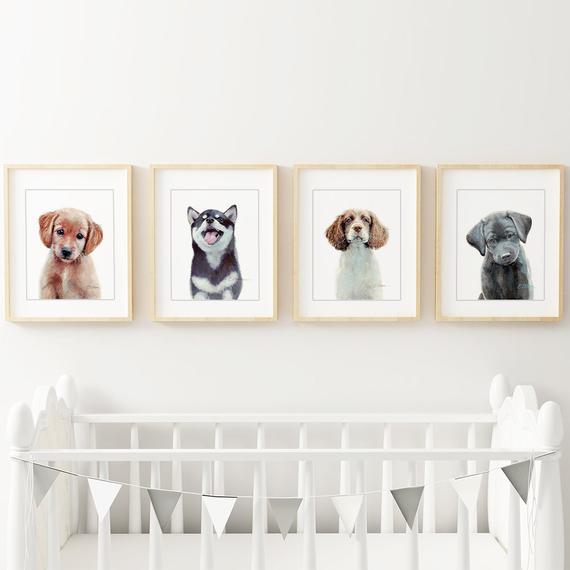 16x20 Wall Decor Cute Three Puppies Sleeping Dogs Kids Room Art Print Poster