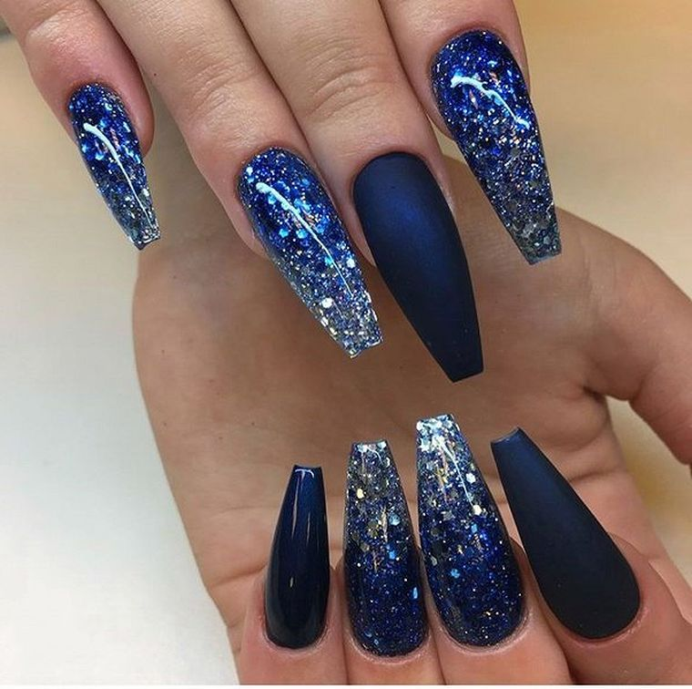 Navy Blue Nail Ideas You May Not Have Tried Blue Glitter Nails Blue Acrylic Nails Cute Acrylic Nails