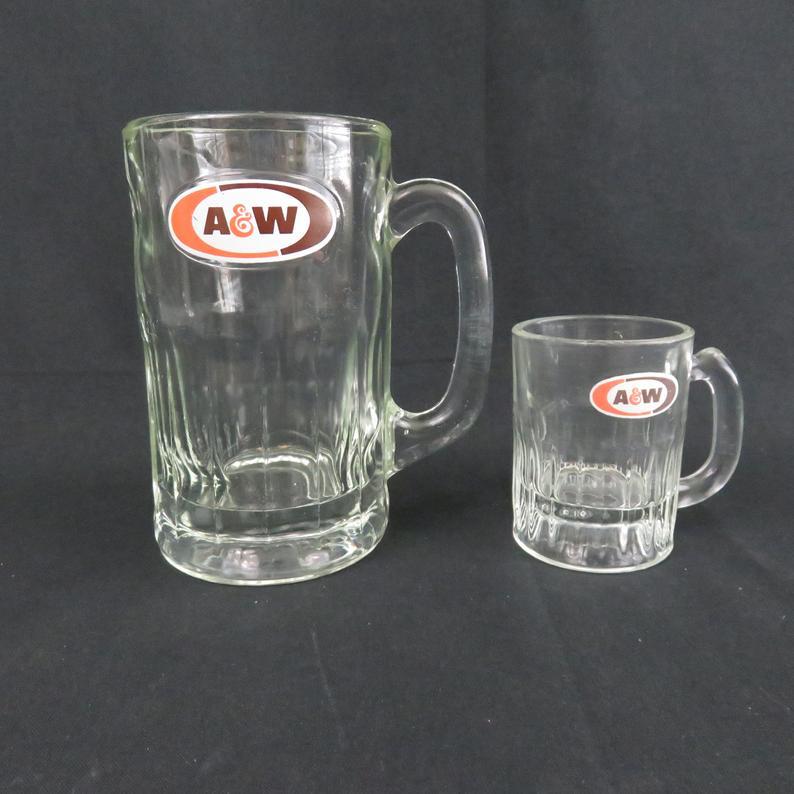 Retro Mugs Heavy Glasses. Vintage A/&W baby mugs 3 Embossed