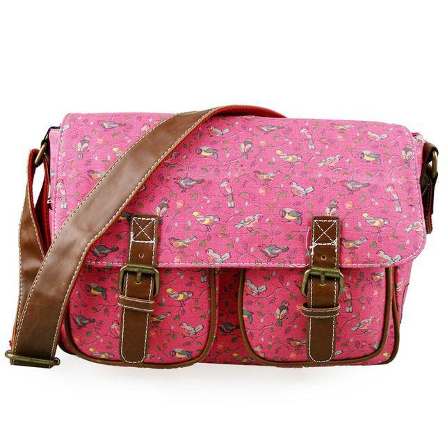 Pink ROSE – Bird CANVAS A4 Books Large Cross Body Shoulder Messenger  Satchel School Bag GREEN ffad853955