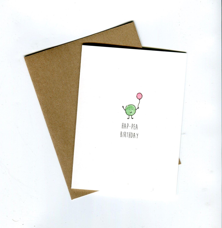 Hap Pea Birthday Original Pea Birthday Card Funny Birthday