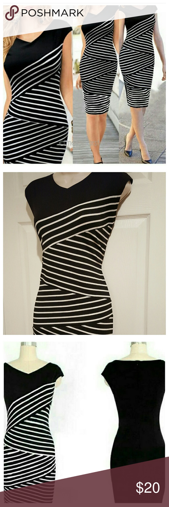 "🎉HP🎉 Black & White Bodycon Pencil Dress New with tags. V-neck striped bodycon, pencil dress. Zips up on top half. 5"" Slit on the back, bottom. Very soft & has great stretch to it so measurements are flexible. Form fitting. Cotton & Spandex blend.  Measurements laying flat-  SMALL: 33"" Relaxed Bust, 15"" Flat Waist, 35"" Hips, 33"" Length  MEDIUM: 34"" Relaxed Bust, 15.5"" Flat Waist, 36"" Hips, 34"" Length Dresses"