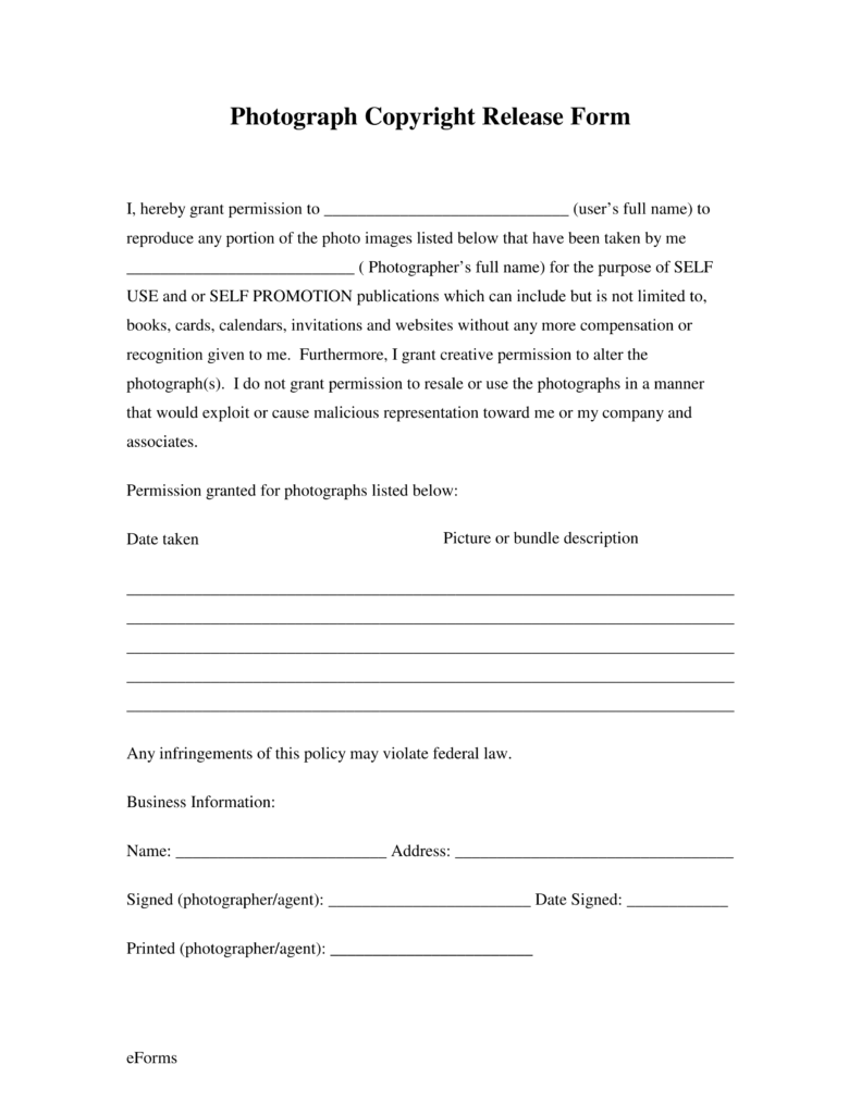 Free Generic Photo Copyright Release Form Pdf Eforms