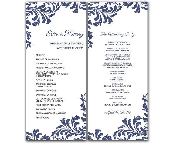DIY Vintage Leaf Wedding Program Microsoft Word Template - Vintage