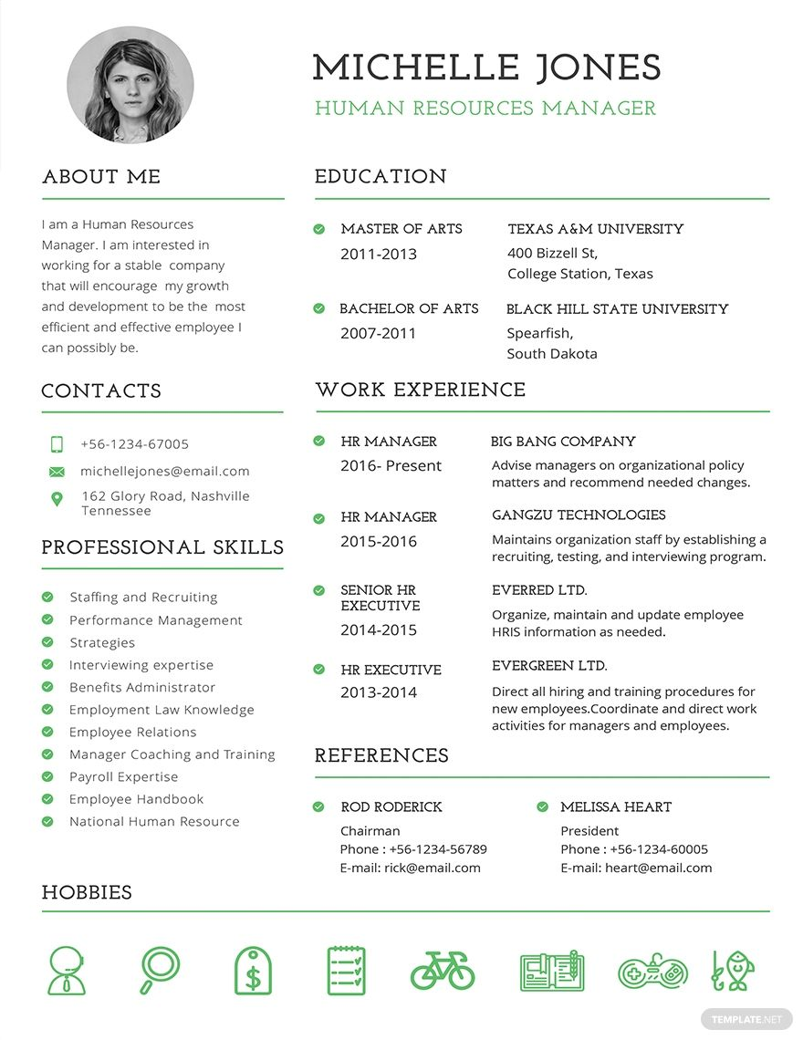 Instantly Download Free Professional HR Resume Template, Sample  Example in Microsoft Word (DOC), Adobe Photoshop (PSD), Adobe InDesign (INDD  IDML), Apple Pages, Microsoft Publisher, Adobe Illustrator (AI) Format. Available in (US) 8.5x11 inches + Bleed. Quickly Customize. Easily Editable  Printable.