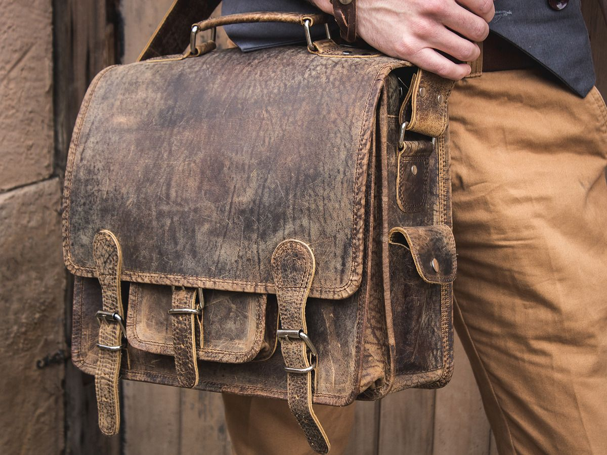 Small Overlander Leather Bag 14 Inch Thumbnail