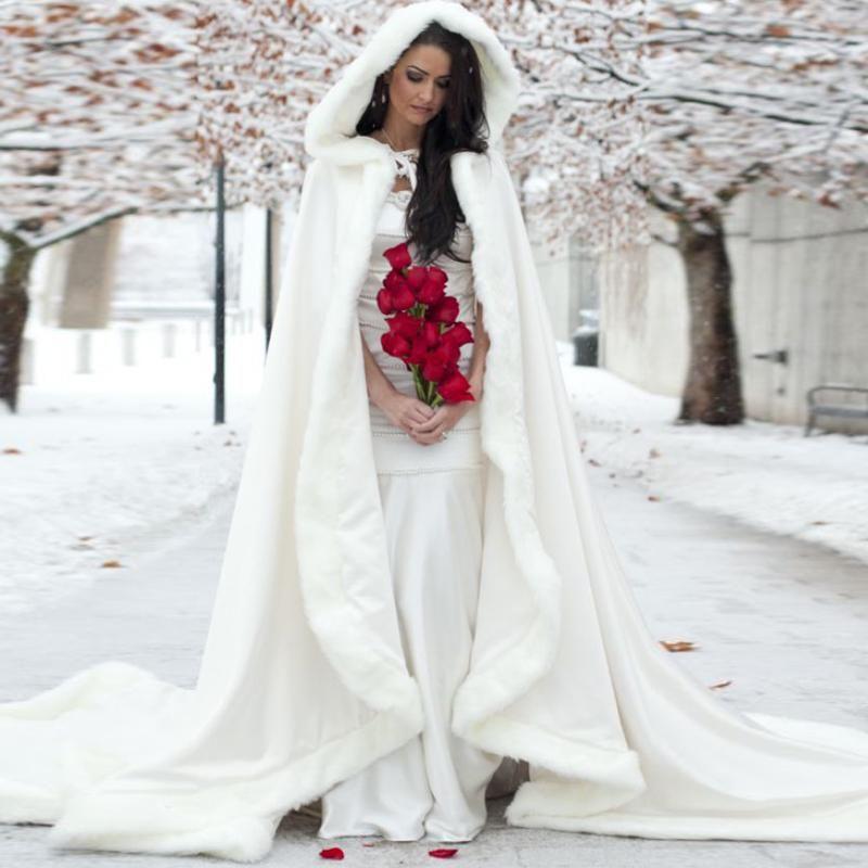 Snow Wedding Ideas: Elegant Cheap 2016 Warm Bridal Cape Ivory White Winter Fur