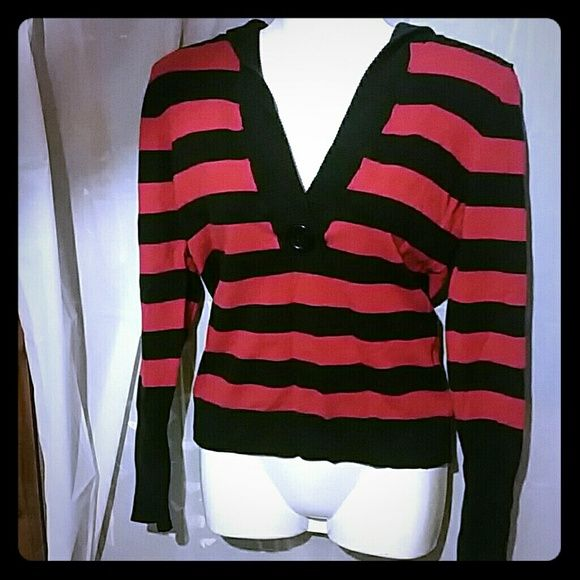 Nwot red and black v-neck sweater Size women's large nwot red and black striped v-neck hooded sweater. Perfect condition no rips no stains and no tears. Made in china. 52% cotton, 14% nylon, 32% acrylic, and 2% spandex. love by design Tops Sweatshirts & Hoodies