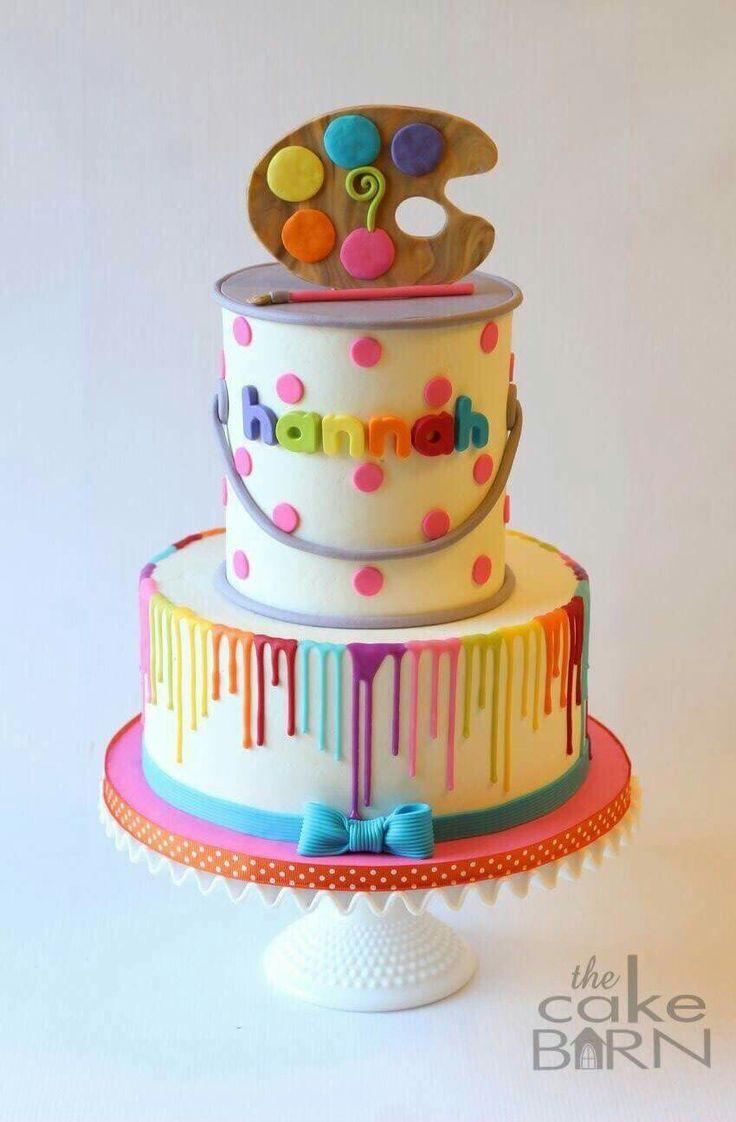 Painting Party Cake Art Birthday Cake Birthday Cake Kids Art