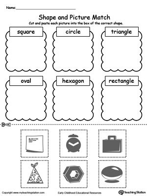 shape and picture match shapes worksheets shapes. Black Bedroom Furniture Sets. Home Design Ideas