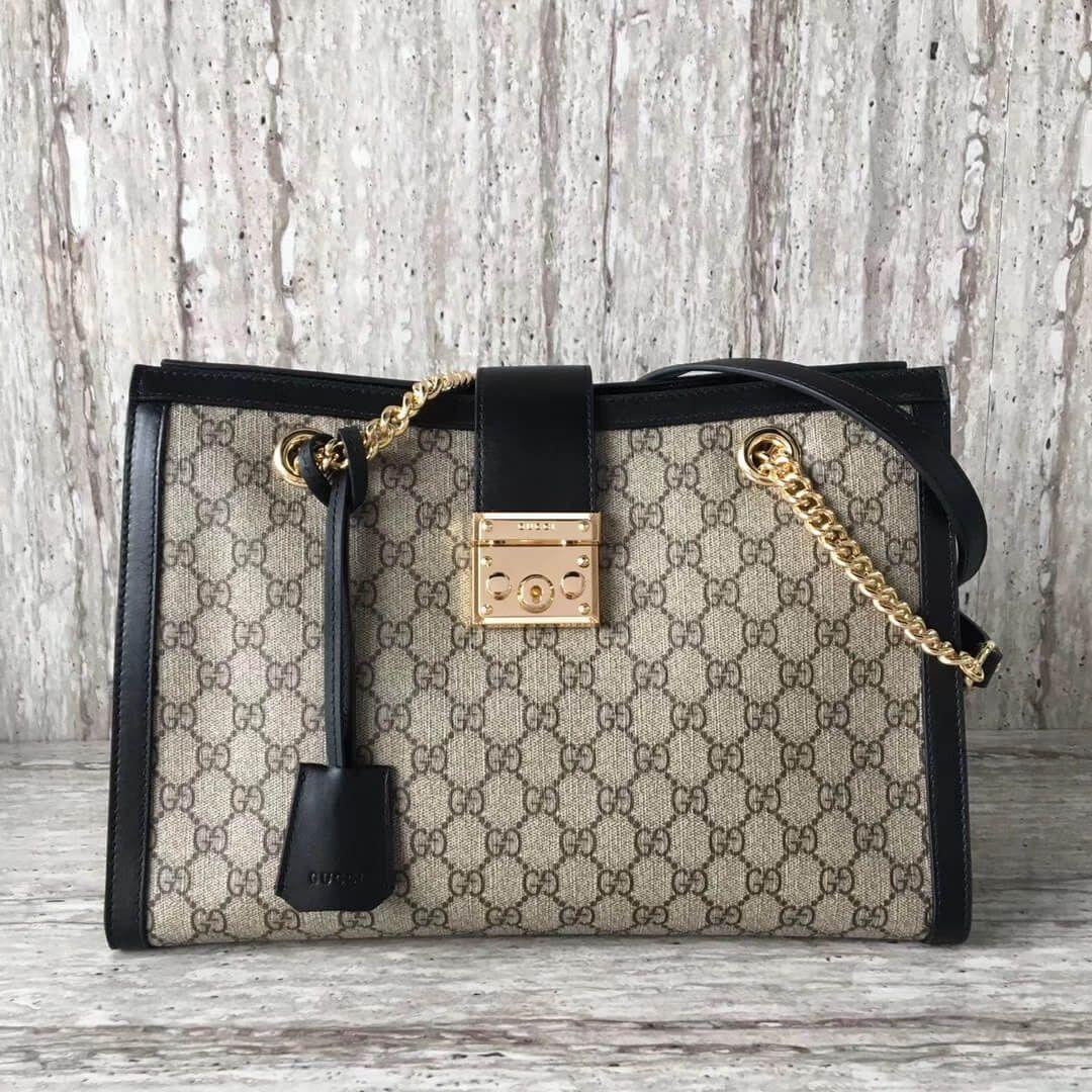 fbc8c7f459c Gucci Padlock medium GG shoulder bag 479197 Black 2017