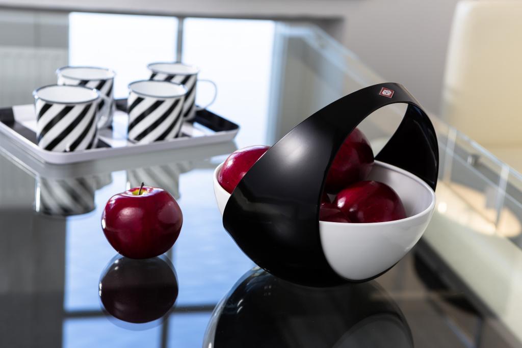 Wesco Obstschale Obstkorb modern schwarzweiß schwarz