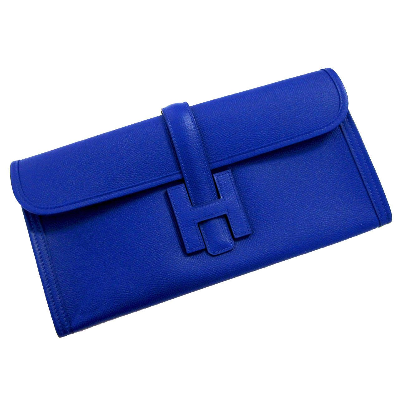 c6b2b8155d Hermes Blue Electric Jige Elan Clutch Electrifying | From a collection of  rare vintage clutches at