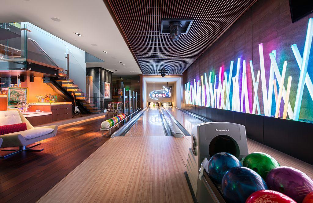 Modern Game Room With Hardwood Floors Carpet Home Bowling Alley Las Vegas Homes Home Gym Design