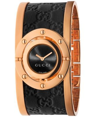 bd2c7ab0d0b Gucci Women s Swiss Twirl Black Guccissima Leather and Rose Gold-Tone PVD  Stainless Steel Bangle Bracelet Watch 24mm YA112438