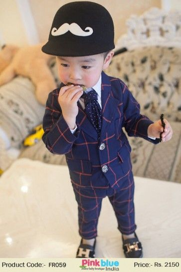 f46ec5f34 Two Piece Kids Formal Party Suit with Blue Coat and Pant in Red ...