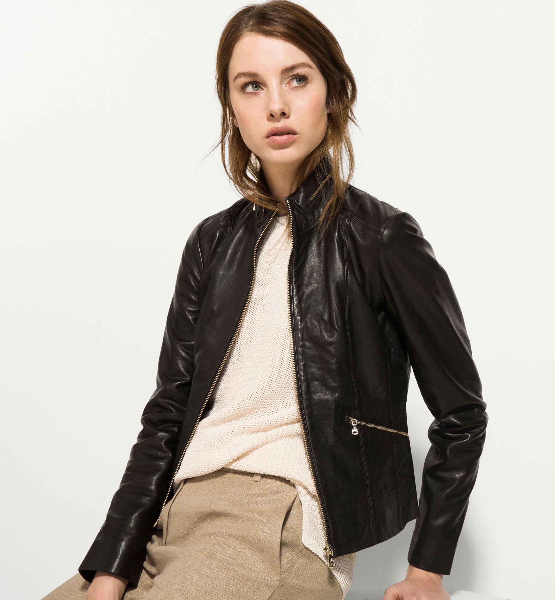 own it BLACK LEATHER JACKET Leather coat jacket
