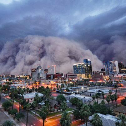 Summer monsoon and dust storm in Phoenix