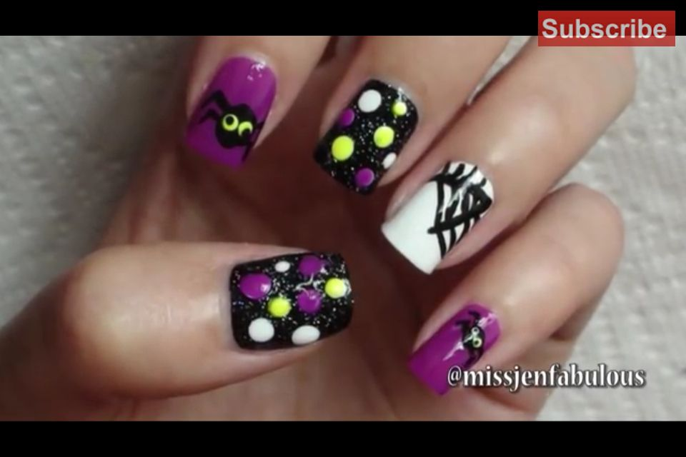 Girly spider nails | Halloween nail designs, Nail art ...