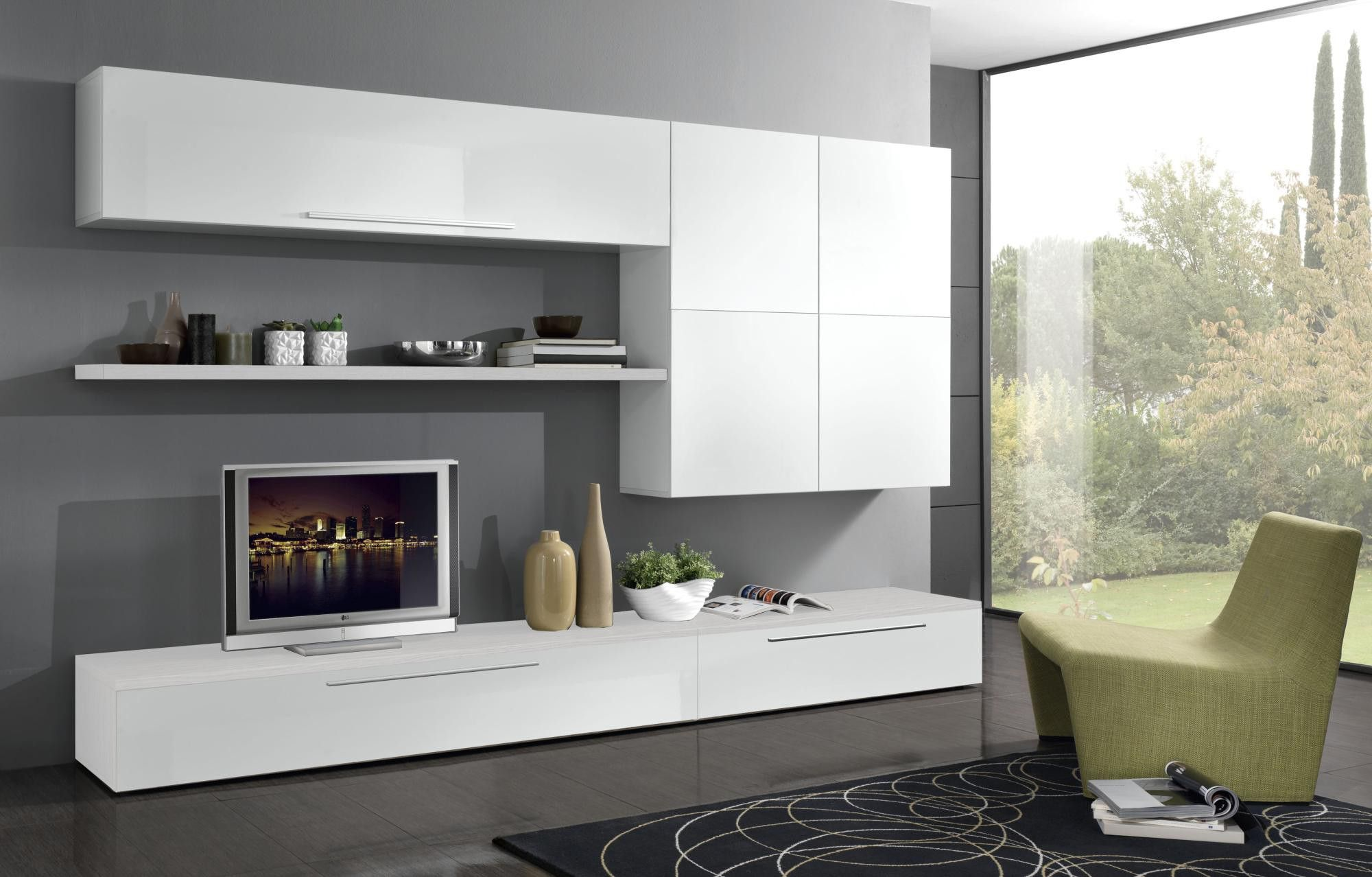 Composition Tv Murale Design Laquee Blanche Luciana Mobilier De Salon Meuble Tv Ensemble Meuble Tv