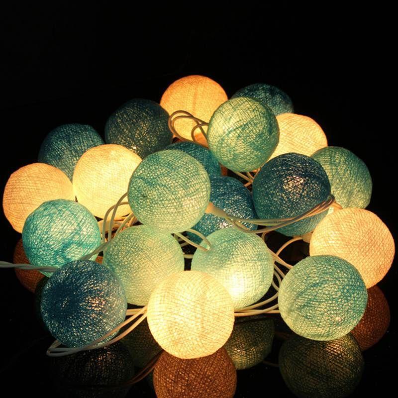 meilleur prix 20 tissu boules de coton cordes led guirlande lumineuse de no l halloween mariage. Black Bedroom Furniture Sets. Home Design Ideas