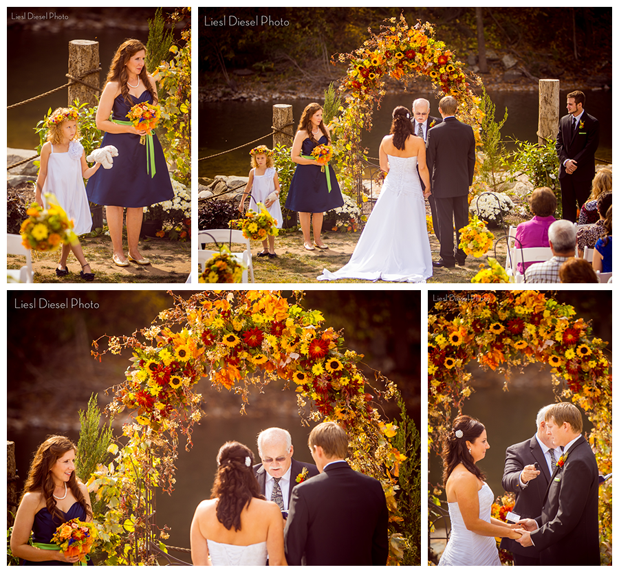 b99fac633778 5 outdoor rustic country wedding ceremony flower floral arbor red orange  yellow sunflower roses calla lillies vows flowergirl navy green