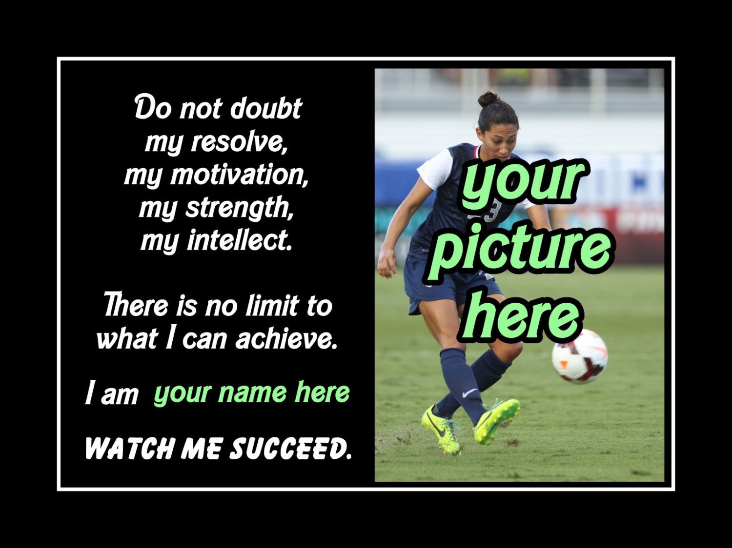 Soccer Quote Soccer Motivation Poster Personalized Custom Photo Quote Wall Art