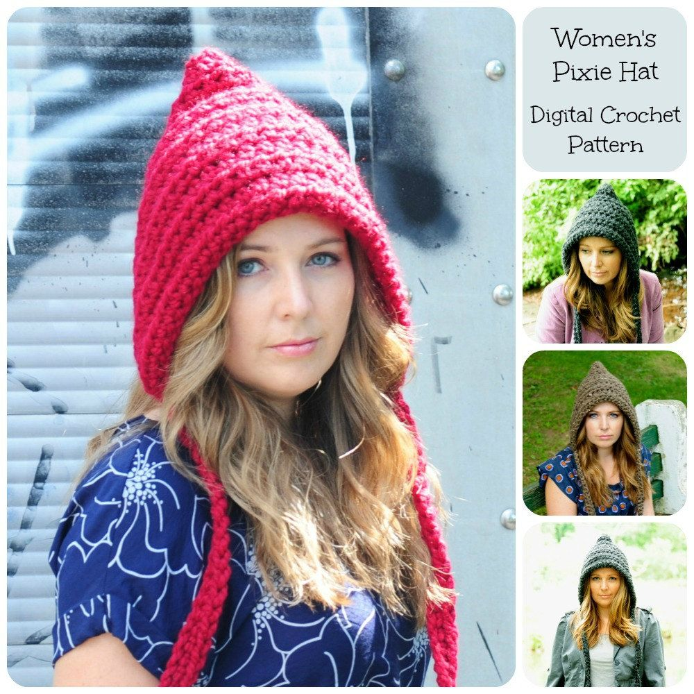 Crochet Pattern Hat Pattern Womens Pixie Hat by SimplyMadeByErin ...