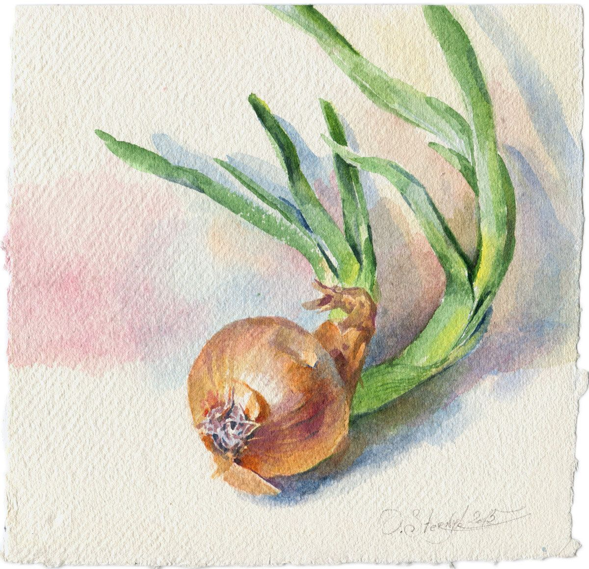 Watercolor Vegetable Painting   Green Onion Painting For Kitchen, Original,  Paper