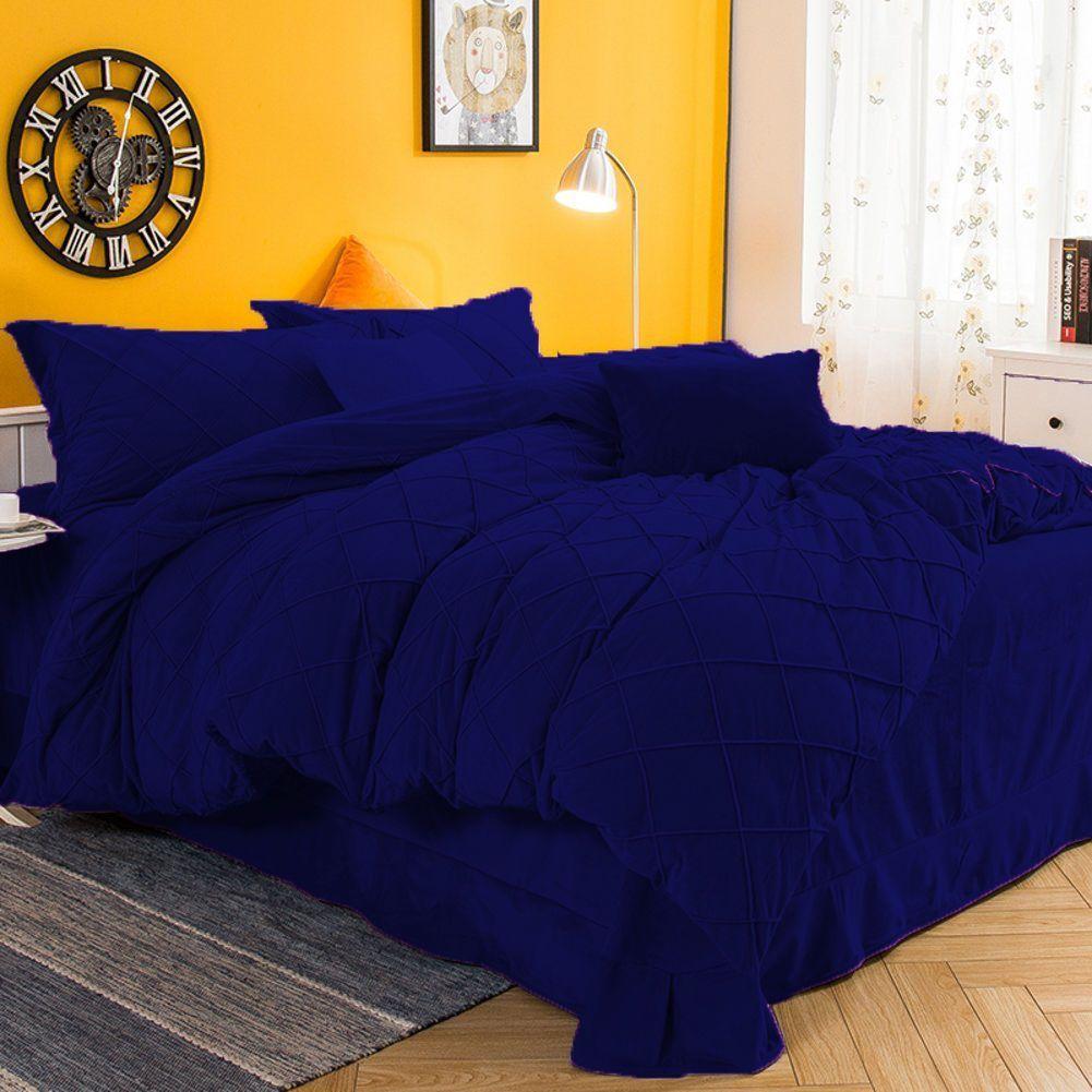 4 Pc 17 Quot Deep Pocket Twin Royal Blue Pintuck Velvet Luxury