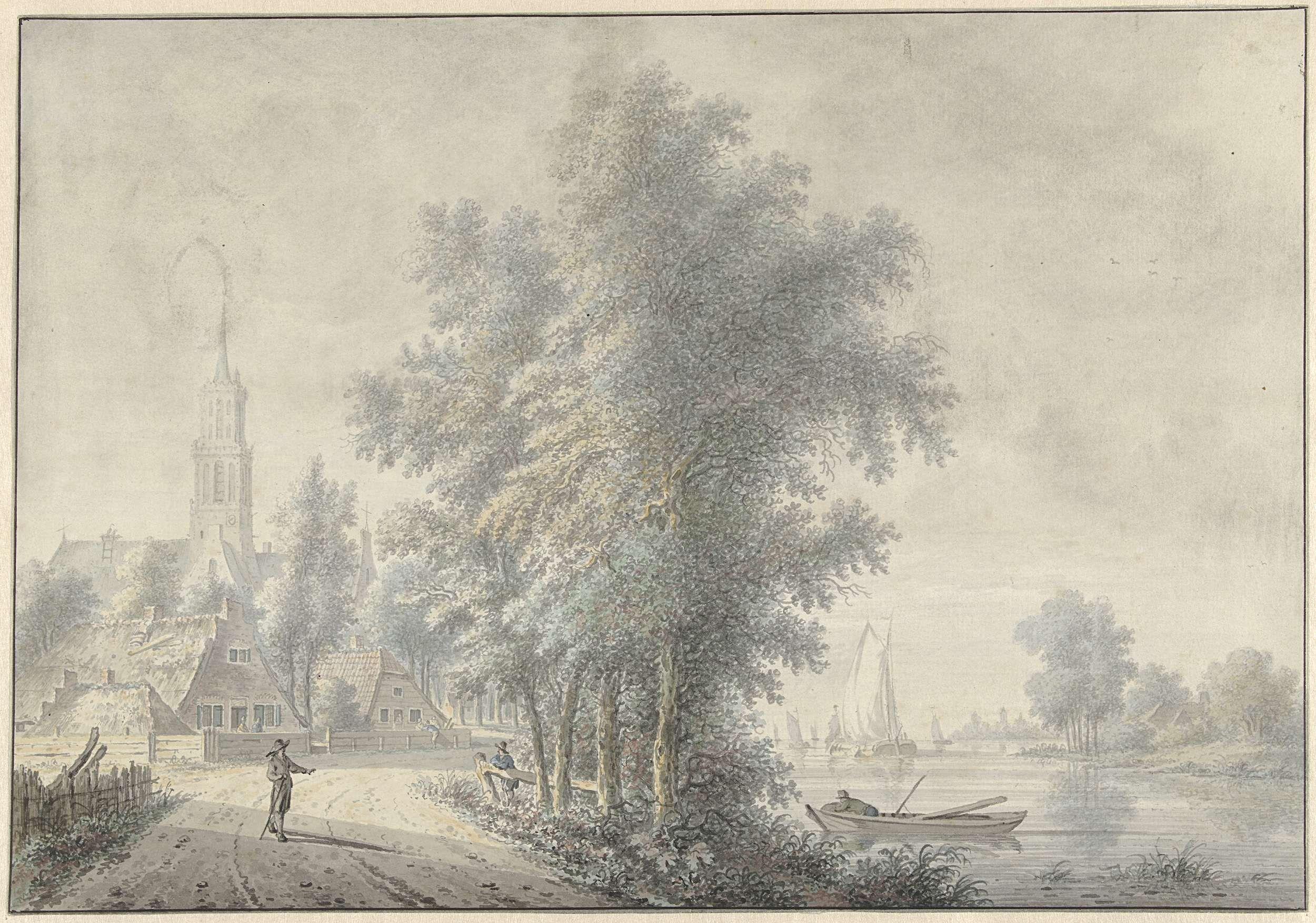 Nicolaas Wicart | Gezicht op een dorp met kerktoren, Nicolaas Wicart, 1758 - 1815 | Gezicht op een dorp met kerktoren; rechts een rivier met schepen.
