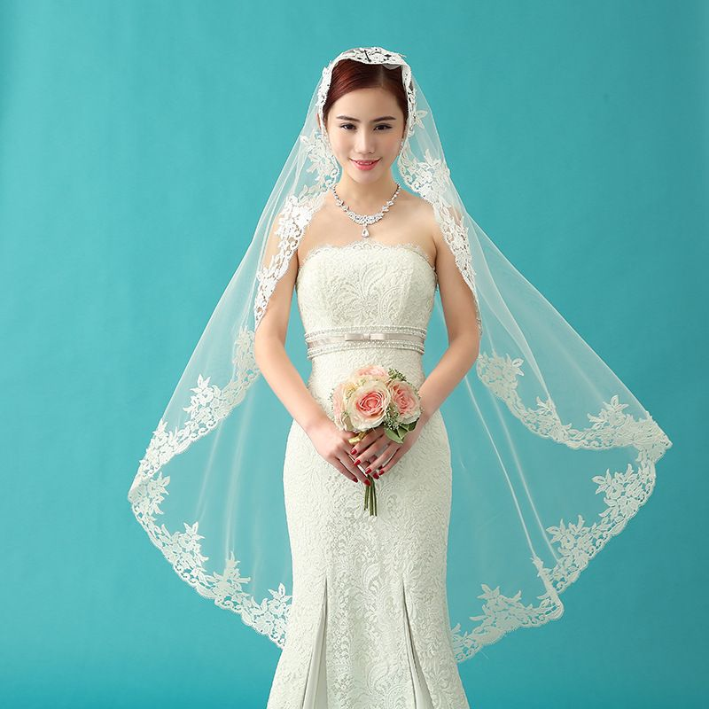 Click to Buy << High Quality Lace Edge White Elegant Wedding Veils ...
