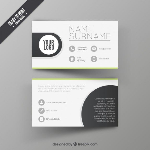 Visit Card Design Template Free Vector Visitenkarte