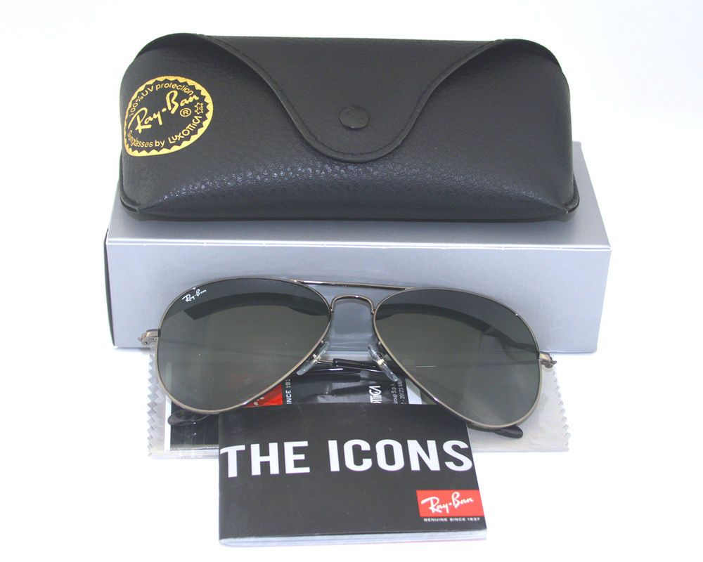 7f8ddcdd48511 Ray Ban RB 3025 Aviator W0879 Gun metal  Green Classic G-15 Sunglasses 58mm  New  RayBan  AviatorClassic