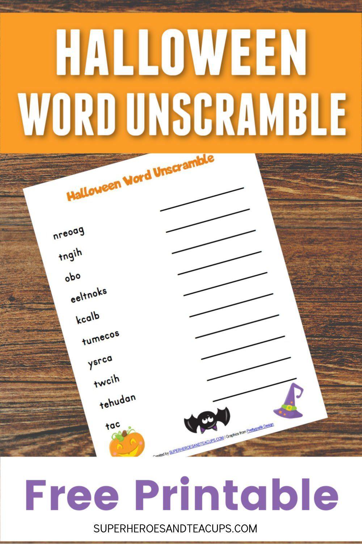 Halloween Word Unscramble Free Printable Halloween words