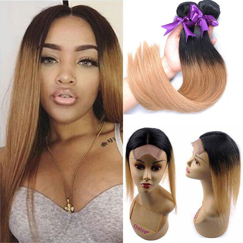 T 1b 27 Dark Roots Honey Blonde Straight Ombre Human Hair Weave 3