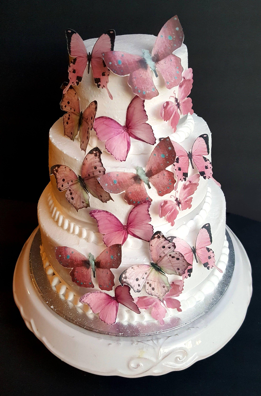 15 Garden Something Pink Edible Wafer Butterflies Wedding Cake ...