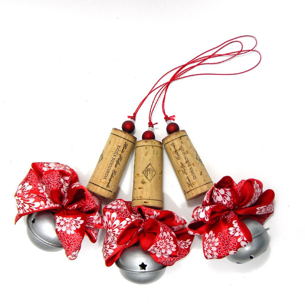 Five Satin Red With White Flowers Recycled Corkament Christmas Ornaments Wine Cork Ornaments Wine Cork Crafts Diy Tree Ornaments