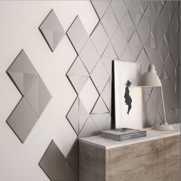 Carrelage Mural Geometrique A Relief Cuivre Blanc Metal