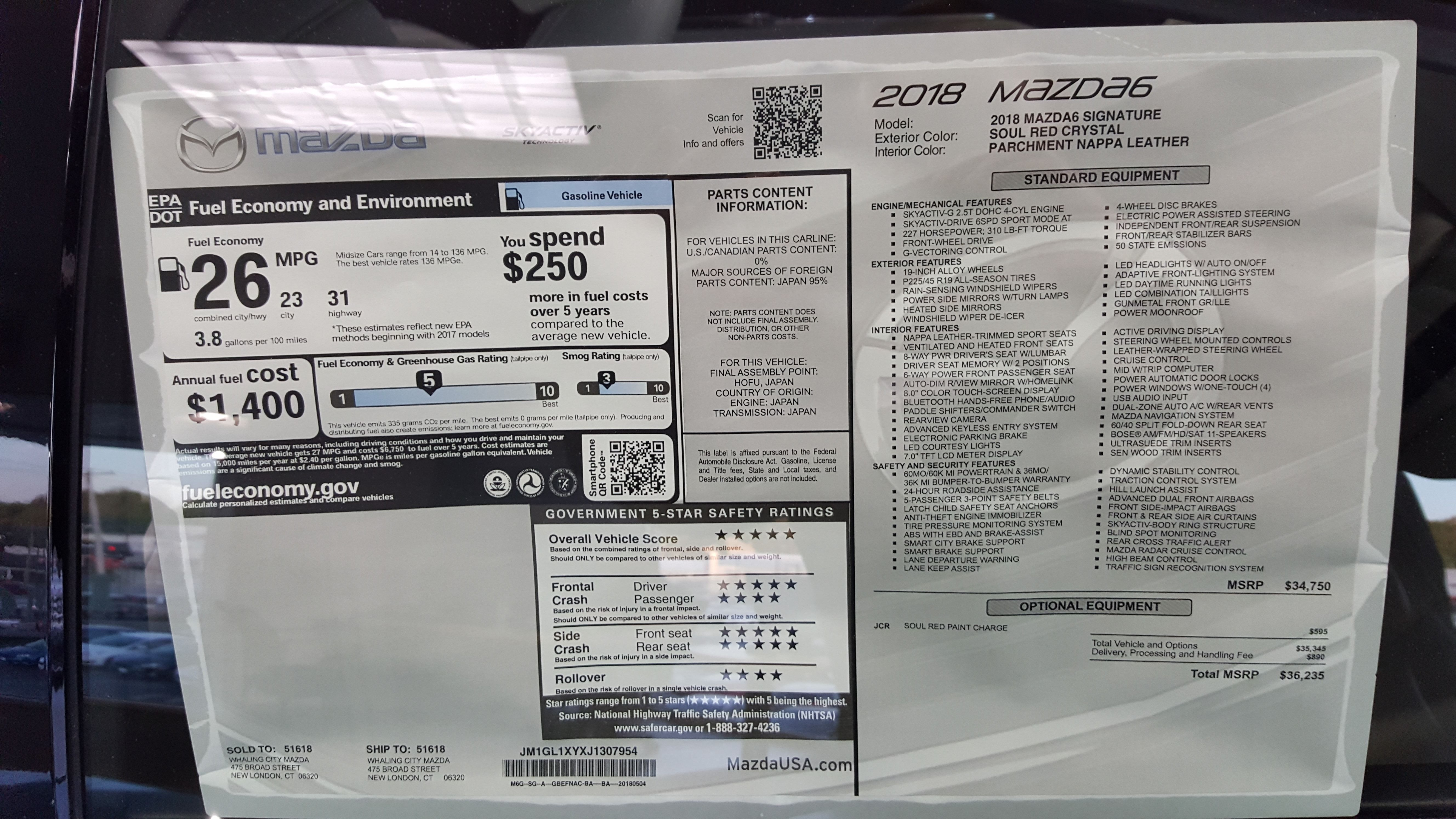 2018 Mazda Mazda6 Signature Window Sticker Mazda Mazda 6 Auto