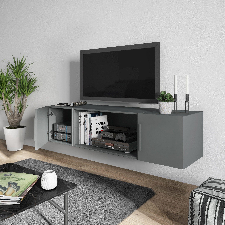 Meuble Tv Spaceo Home Gris H 40 X L 160 X P 45 Cm En 2020 Meuble Tv Gris Meuble Tv Et Meuble Tv Blanc