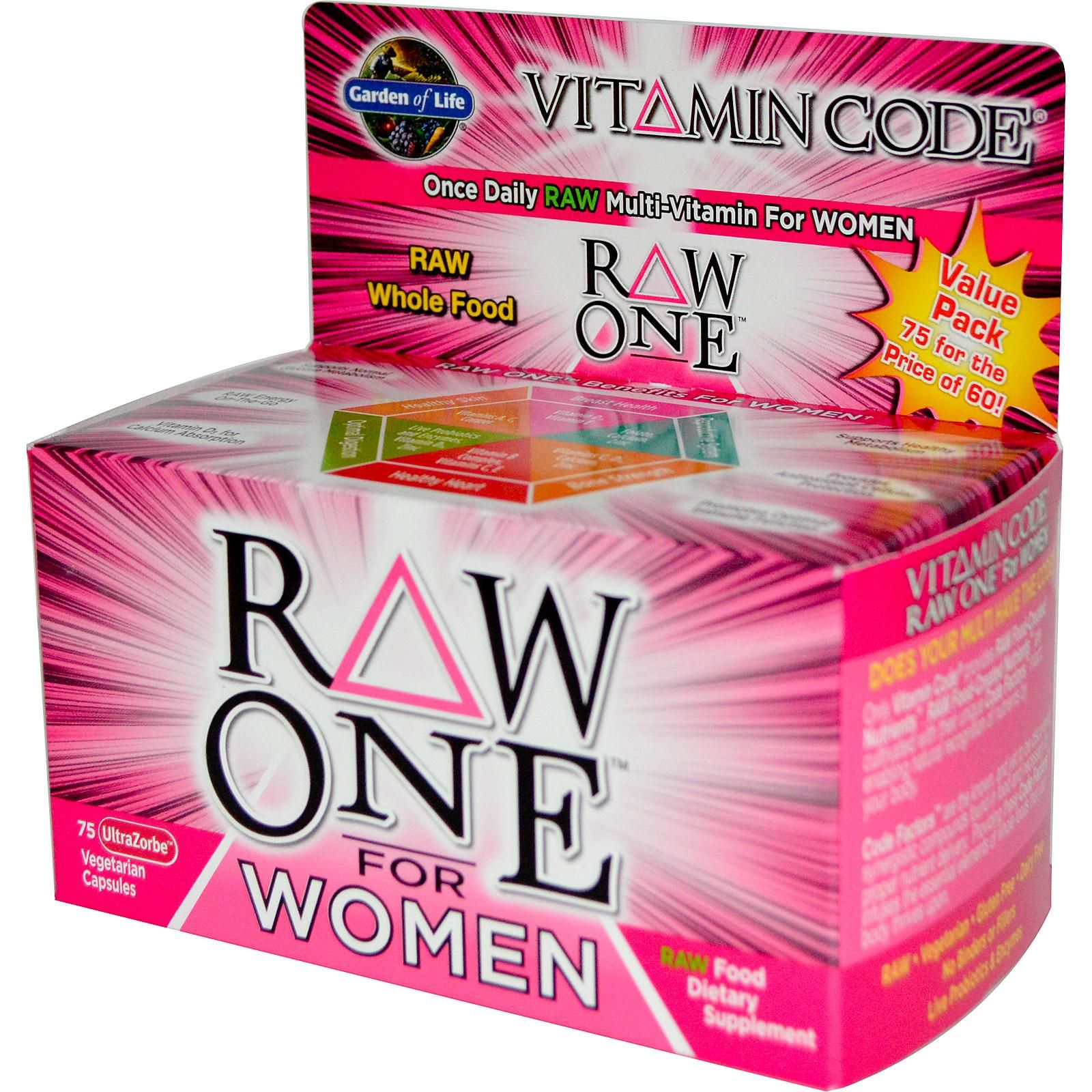 Garden Of Life Vitamin Code Raw One Once Daily Multivitamin For Women 75 Vegetarian Capsules Vitamins For Women Vitamins Multivitamin