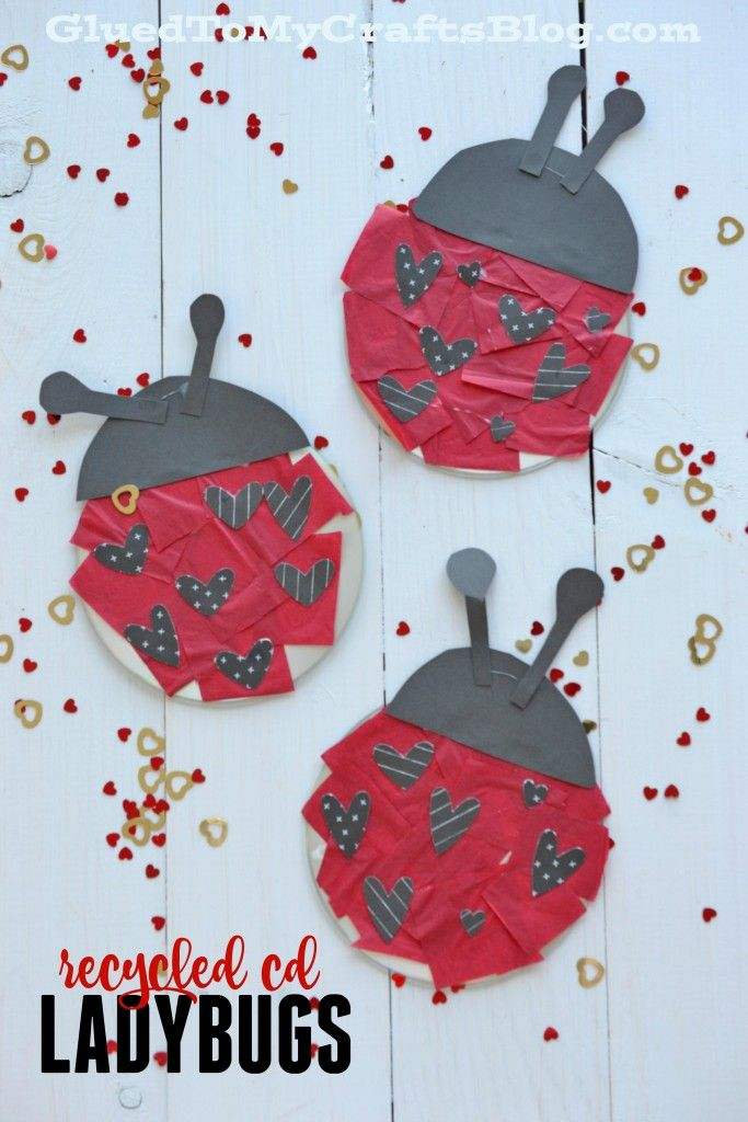 Recycled CD Ladybugs - Kid Craft