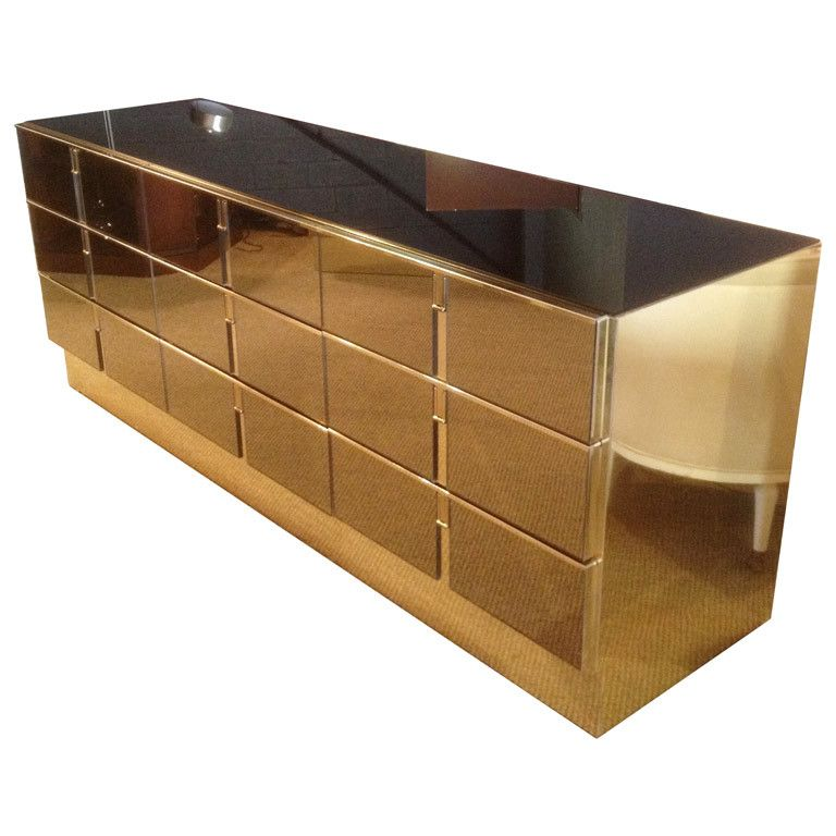 Modern Designer Bronze Mirrored Console Table With Drawer Modern