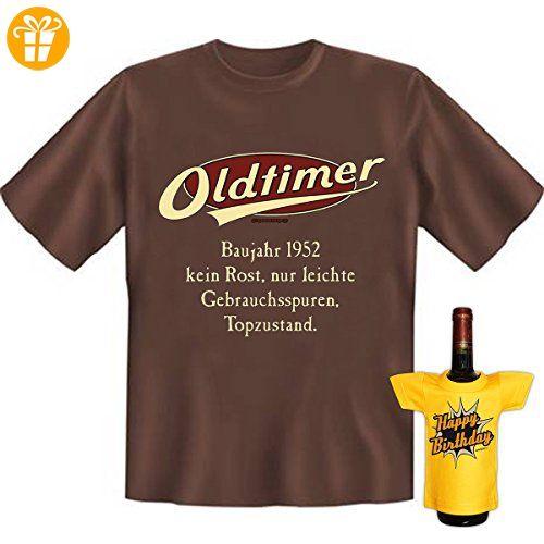 Geburtstags Set T-Shirt + Mini für die Flasche <-> Oldtimer Baujahr 1952  <-> ein kleines lustiges Geschenk Goodman Design®Braun (*Partner-Link)